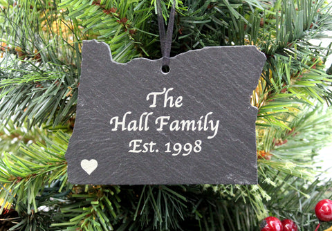 Oregon Slate Christmas Ornament- Personalized with Laser Engraving