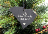 South Carolina Slate Christmas Ornament