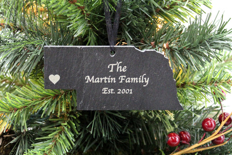 Nebraska Slate Christmas Ornament- Personalized with Laser Engraving