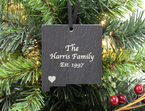 New Mexico Slate Christmas Ornament- Personalized with Laser Engraving