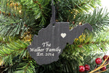 West Virginia Slate Christmas Ornament