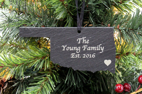 Oklahoma Slate Christmas Ornament- Personalized with Laser Engraving