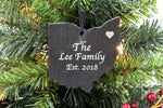 Ohio Slate Christmas Ornament- Personalized with Laser Engraving