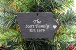 Iowa Slate Christmas Ornament- Personalized with Laser Engraving