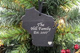 Wisconsin Slate Christmas Ornament
