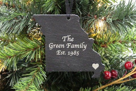 Missouri Slate Christmas Ornament