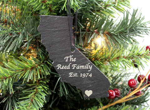 California Slate Christmas Ornament
