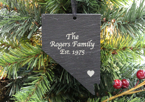 Nevada Slate Christmas Ornament- Personalized with Laser Engraving