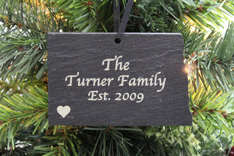 North Dakota Slate Christmas Ornament- Personalized with Laser Engraving