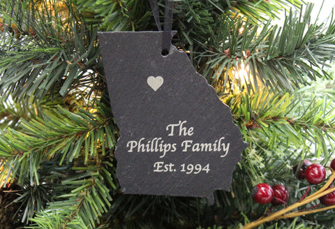 Georgia Slate Christmas Ornament- Personalized with Laser Engraving