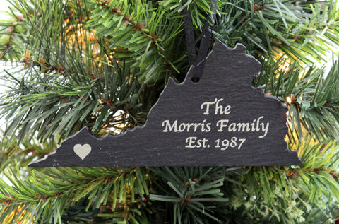 Virginia Slate Christmas Ornament