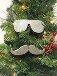Glasses and Mustache Set Slate Christmas Ornament
