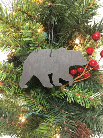 Bear Slate Christmas Ornament