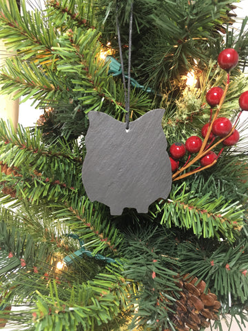 Owl Slate Christmas Ornament