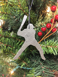 Baseball player slate Christmas ornament