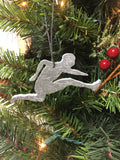 hurdler slate christmas ornament