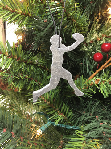 Catching Football Player Slate Christmas Ornament
