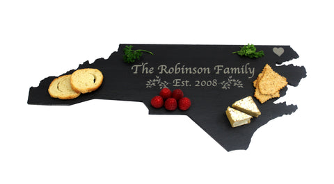 North Carolina Slate Cheese Board- Personalized with Laser Engraving