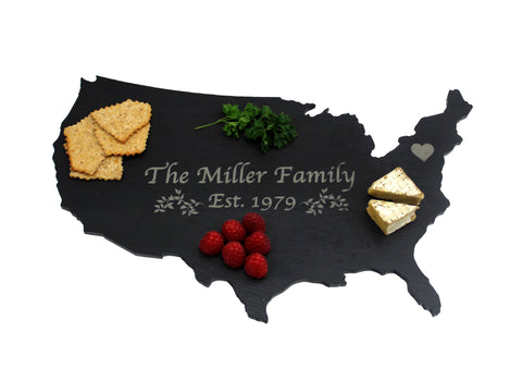 United States Slate Cheese Board- Personalized with Laser Engraving