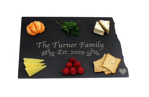 North Dakota Slate Cheese Board- Personalized with Laser Engraving
