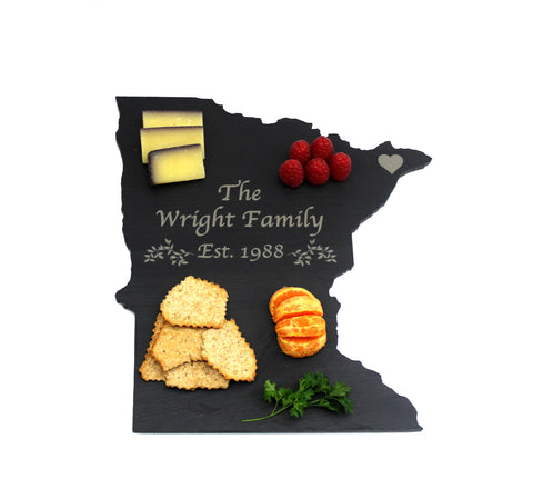 Minnesota Slate Cheese Board- Personalized with Laser Engraving