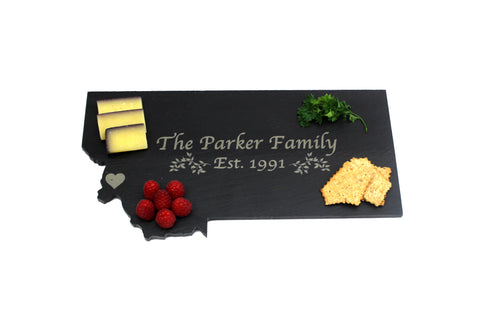 Montana Slate Cheese Board- Personalized with Laser Engraving