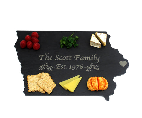 Iowa Slate Cheese Board- Personalized with Laser Engraving