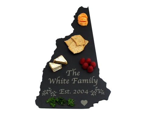 New Hampshire Slate Cheese Board- Personalized with Laser Engraving