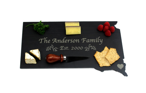 South Dakota Slate Cheese Board- Personalized with Laser Engraving