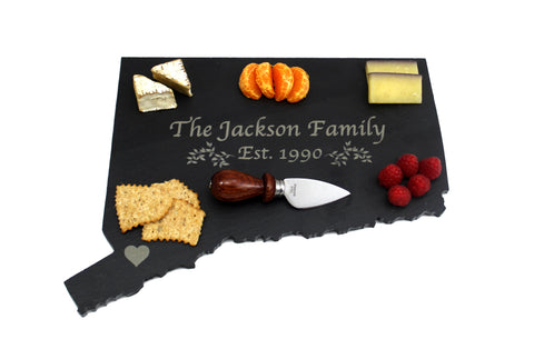 Connecticut Slate Cheese Board- Personalized with Laser Engraving