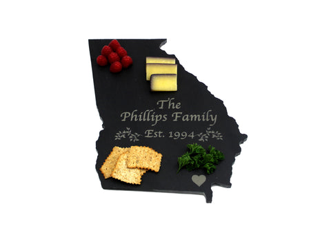 Georgia Slate Cheese Board- Personalized with Laser Engraving