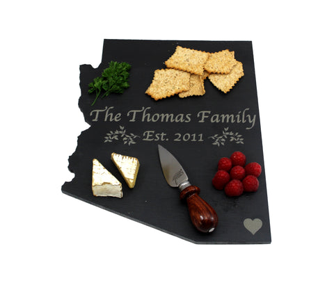 Arizona Slate Cheese Board- Personalized with Laser Engraving