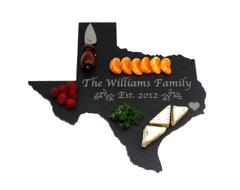 Texas Slate Cheese Board- Personalized with Laser Engraving
