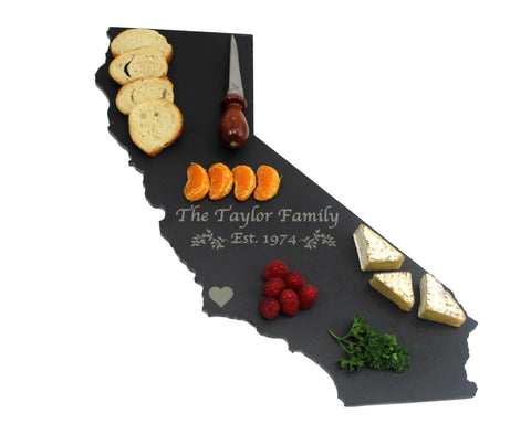 California Slate Cheese Board- Personalized with Laser Engraving