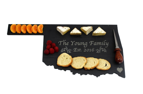 Oklahoma Slate Cheese Board- Personalized with Laser Engraving