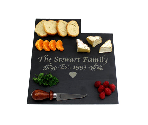 Utah Slate Cheese Board- Personalized with Laser Engraving