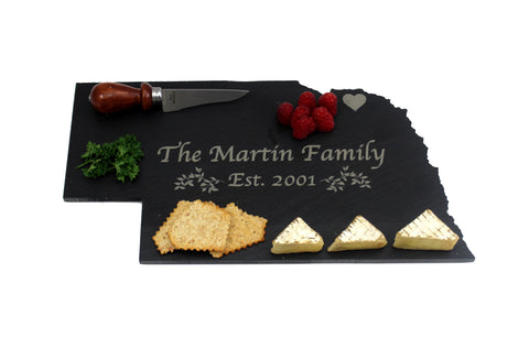 Nebraska Slate Cheese Board- Personalized with Laser Engraving