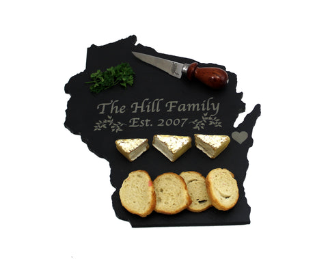 Wisconsin Slate Cheese Board- Personalized with Laser Engraving