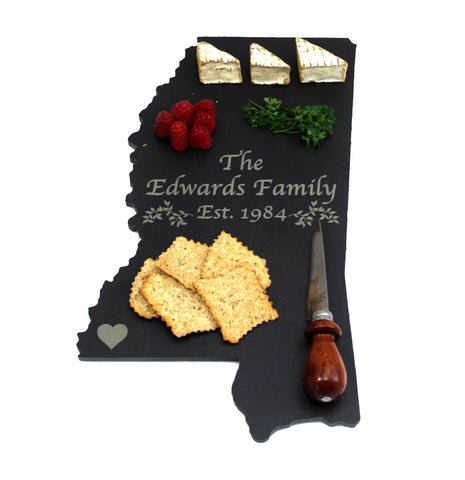 Mississippi Slate Cheese Board- Personalized with Laser Engraving