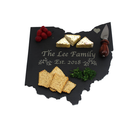 Ohio Slate Cheese Board- Personalized with Laser Engraving