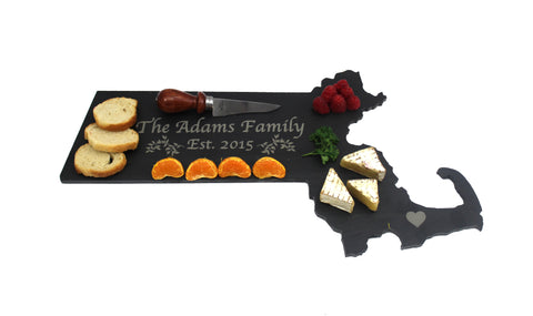 Massachusetts Slate Cheese Board- Personalized with Laser Engraving