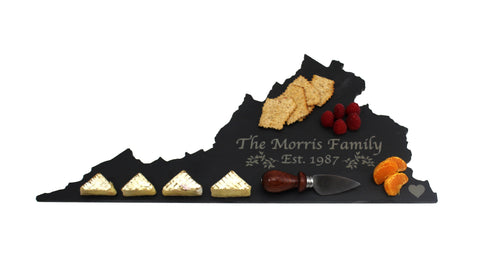 Virginia Slate Cheese Board- Personalized with Laser Engraving