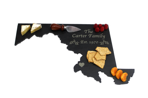 Maryland Slate Cheese Board- Personalized with Laser Engraving