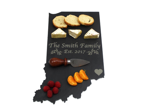 Indiana Slate Cheese Board- Personalized with Laser Engraving