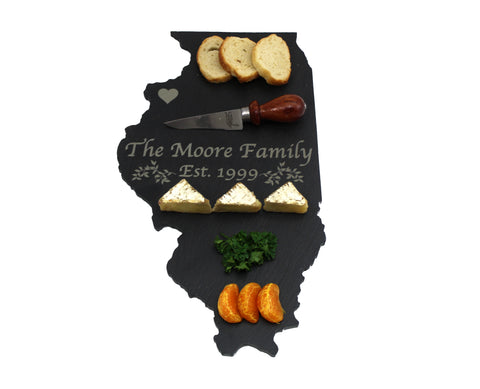 Illinois Slate Cheese Board- Personalized with Laser Engraving