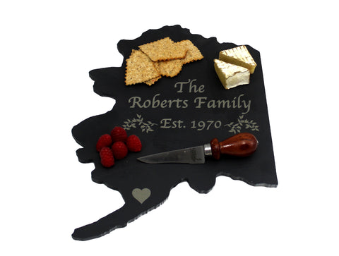 Alaska Slate Cheese Board- Personalized with Laser Engraving