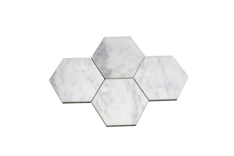Hexagon Carrara White Coasters