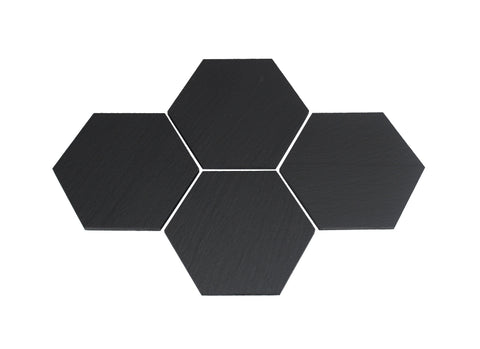 Hexagon Black Slate Coasters