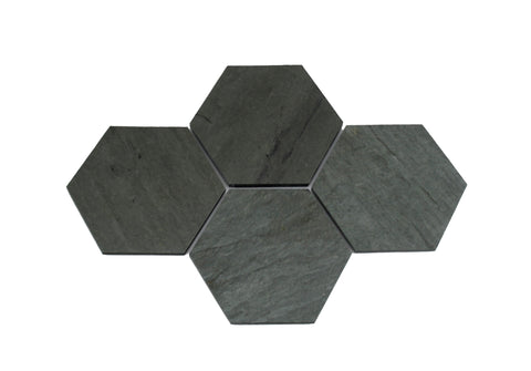 Hexagon Grey Slate Coasters