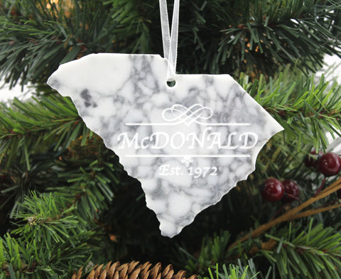South Carolina Marble Christmas Ornament